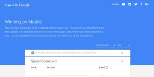 Page speed score card from google